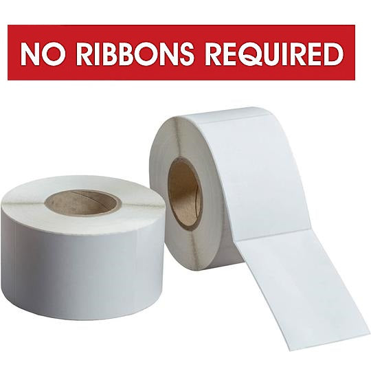 "DIRECT THERMAL LABELS ROLLED - COATED 8"" OD CORES - NO RIBBON REQUIRED"
