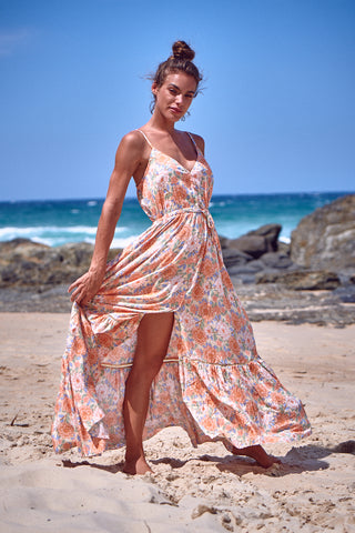 Womens Floral Button Down Strappy Flowy Beach Boho Maxi Dress
