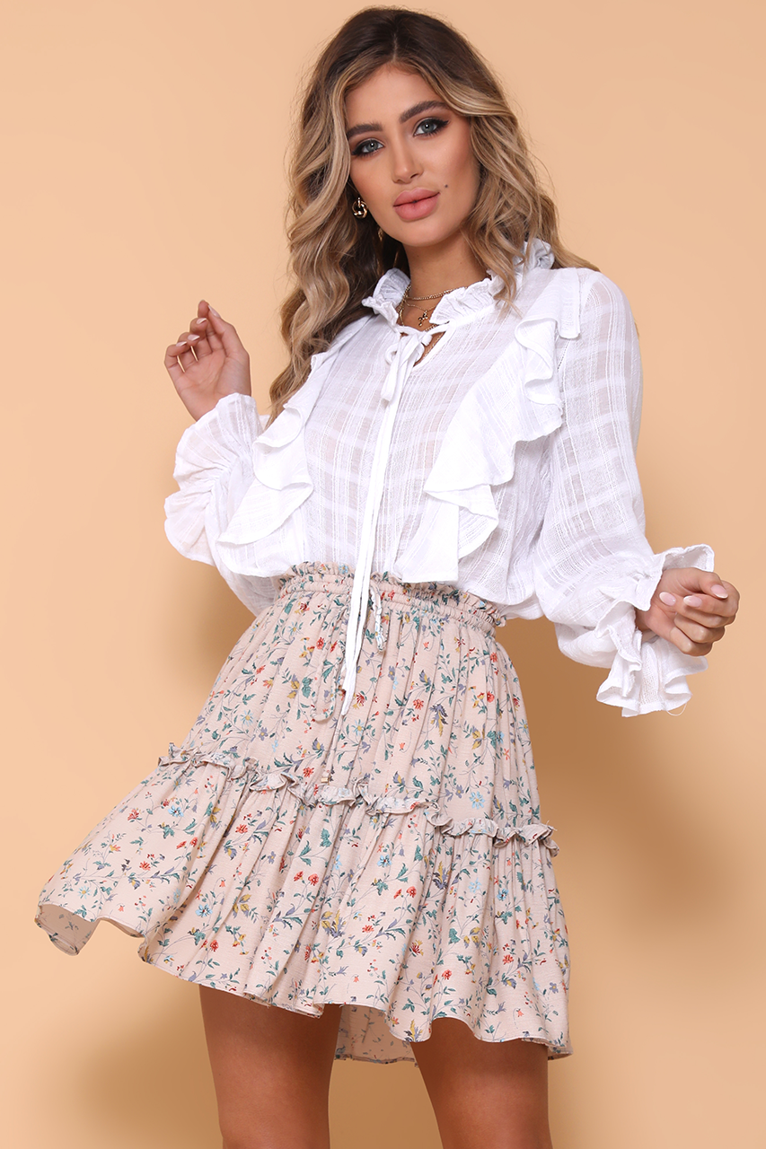 Womens Flowy Mini Floral Boho Skirt