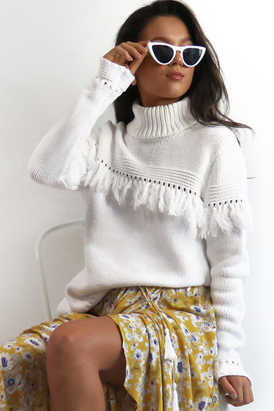 Womens White Roll Neck Tassel Boho Jumper
