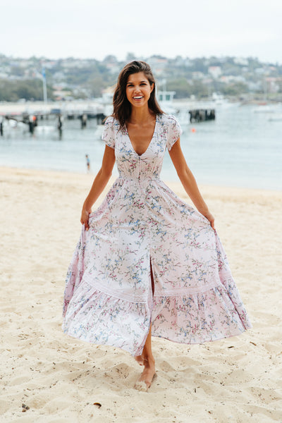 Women's Floral Print Button Down V Neck Flowly Boho Maxi Dress