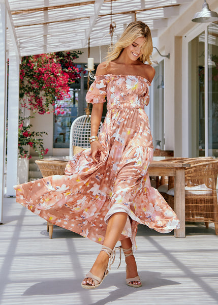 Women's Floral Print Off The Shoulder Flowy Maxi Boho Dress