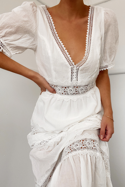 White Lace Embroidered Deep V Bohemian Maxi Dress