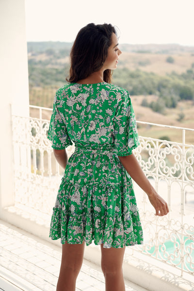 Women's Green Floral Print V Neck Flowly Boho Mini Dress