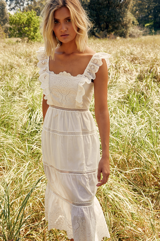 Womens White Lace Embroidered Sleeveless Midi Boho Dress