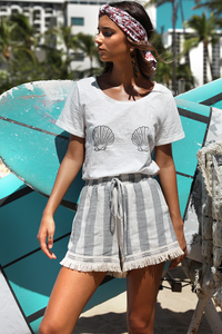 Womens White Seashell Short Sleeve Boho T-Shirt