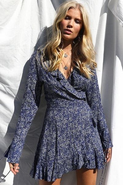 Womens Blue Floral Wrap Mini Boho Dress