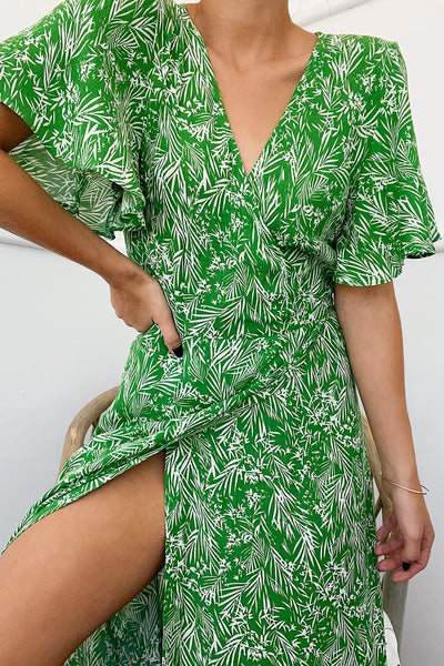 Womens Green Flowly Deep V Wrap Boho Maxi Dress