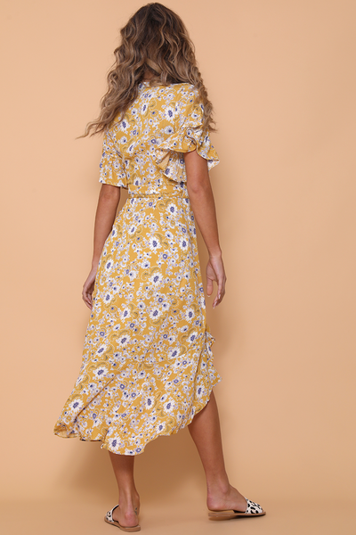 Womens Yellow Floral Flowy Wrap Midi Boho Dress