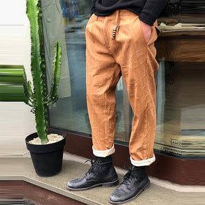 Fashion solid color pockets with bandwidth loose pants