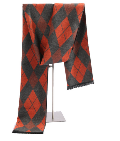 Autumn and winter plaid warm silk brushed scarf