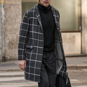 Classic Plaid Single-Breasted Mid-Length Coat