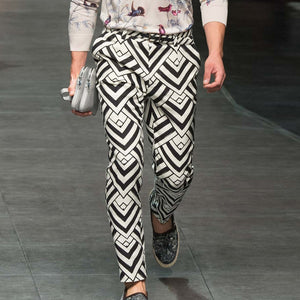 Casual Middle Waist Printed Pants