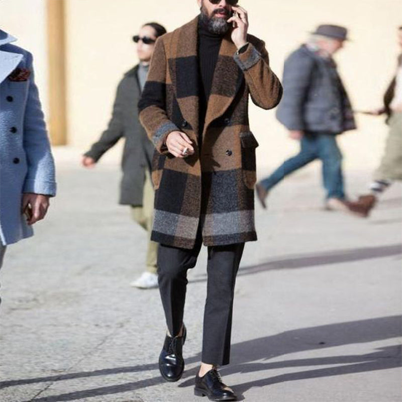 Man's Modest Check Turndown Collar Coat