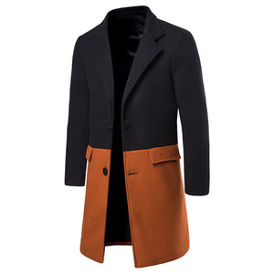Men's casual color matching slim coat