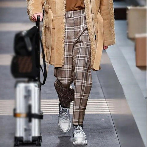 British Style Casual Plaid Pants