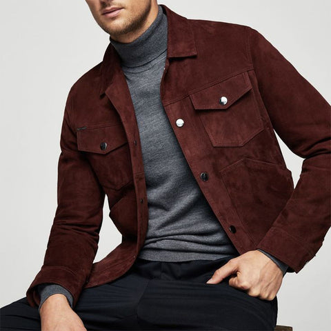 Modern Single-breasted Long Sleeve Pure Color Jacket