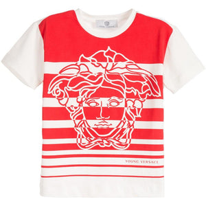 40543df50 Young Versace | Medusa Boys Striped T-shirt Red and White