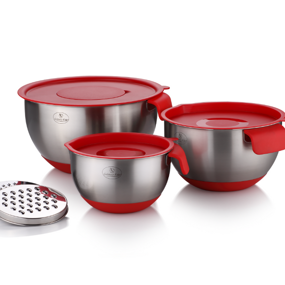 Culinary Edge 18/10 Stainless Steel Mixing Bowl Set Red