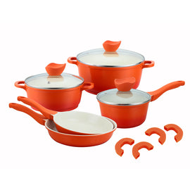 8 PC Ceramic Nonstick Die Cast Aluminum Cookware Set - Orange
