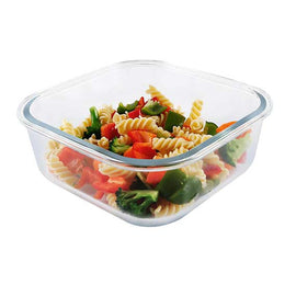 GLASS FOOD STORAGE CONTAINER WITH VENTED SNAP LID, 1080ML/36.5OZ, SQUARE