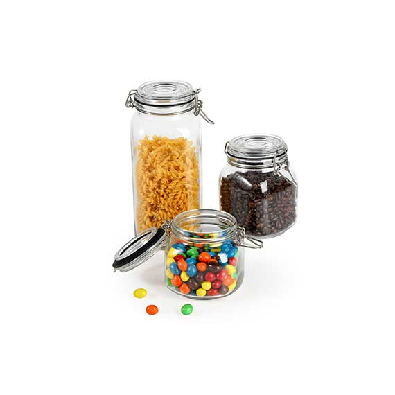 3 PC GLASS JAR WITH HINGED LID/0.75L, 1L, 2L