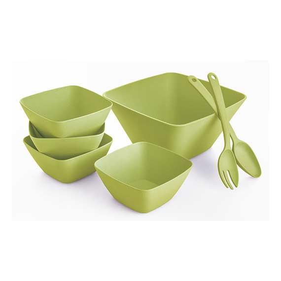 7pc Square Salad Bowl Set-Green