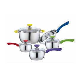 9 PC S/S COOKWARE SET - MULTICOLOR