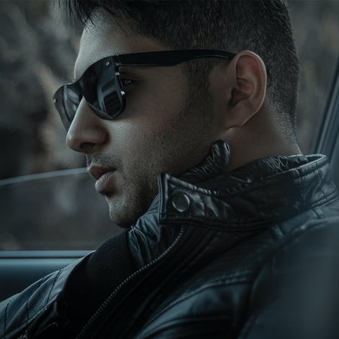 image of cool guy in car