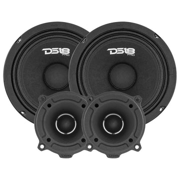 "3120W 4x 6"" Midrange Speakers + 4x Bullet Tweeters + 1850W 4 Ch Amplifier Combo"