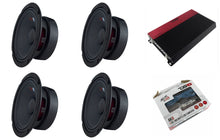 Load image into Gallery viewer, DS18 1850W 4 Channel Amp + 4x PRO-GM8 Mid-range Speaker + 8 Gauge Amp Kit