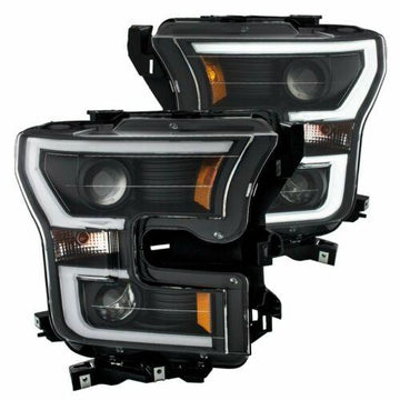Anzo Projector Plank Style Headlights Black/Amber Fits 15-17 FORD F-150 #111347