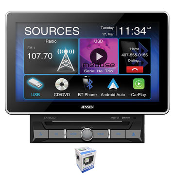 "Jensen CAR8000 10"" Touchscreen Bluetooth Apple CarPlay 2 Din Multimedia Receiver"