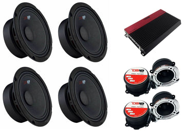 "1x SLC-X1850.4 AMP + 4x GM8 8"" Mid Speakers + 2x PRO-TW120 Set Tweeters"