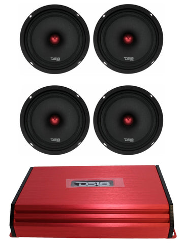"DS18 Red 3000W 4 Channel Amp Two Pair of 3200W PRO-X8.4BM 8"" Mid-Range"