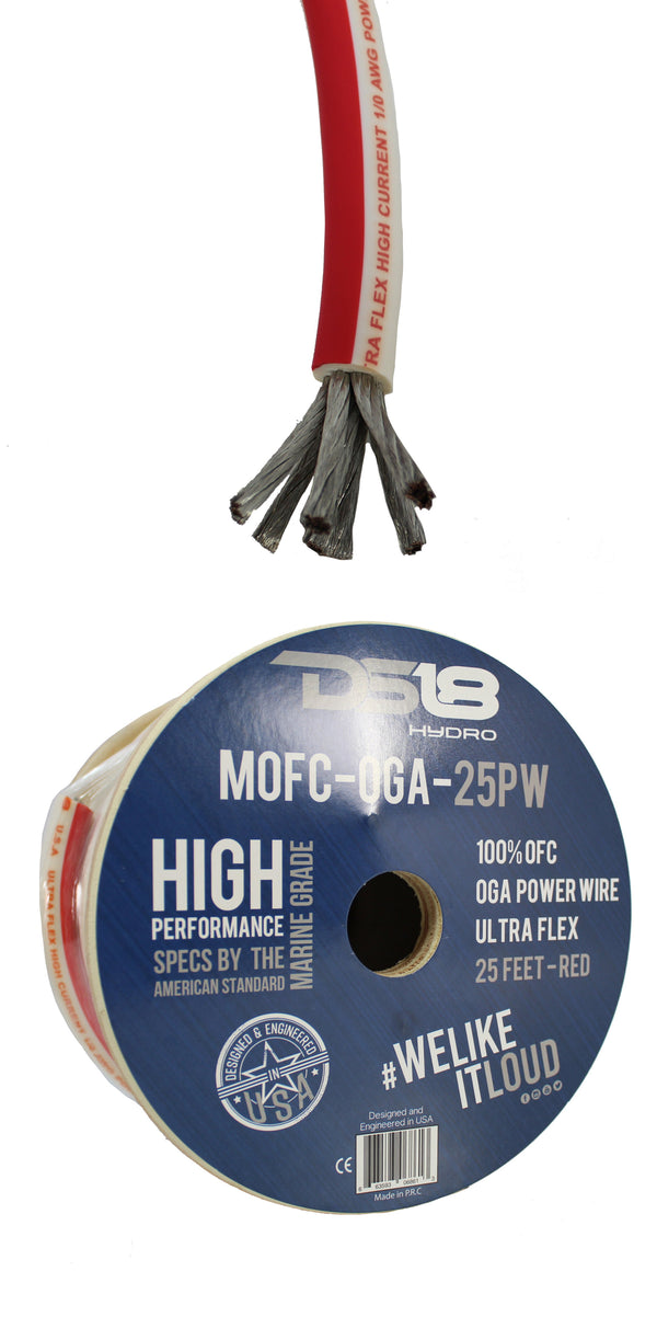 10FT DS18 0GA Marine Power Wire OFC Tinned Copper Cable Battery