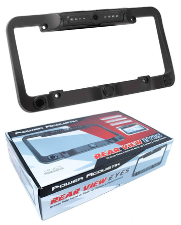 Universal Waterproof License Plate Frame BackUp Camera Power Acoustik LP-4CS