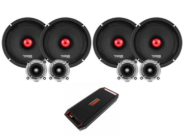"4600W 4x 8"" Midrange Speakers + 4x Bullet Tweeters + 1600W 4Ch Amplifier DS18 Combo"