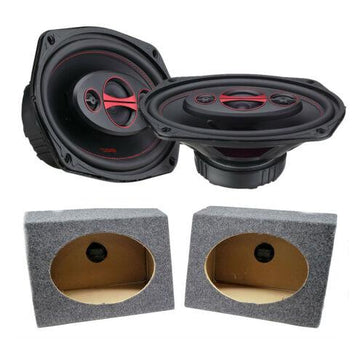 "2x DS18 6 x 9"" Pro Car Audio Speakers 360W Coaxial 6x9 Speaker Box Enclosures"