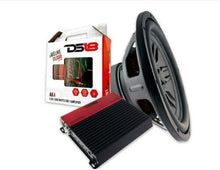 "Load image into Gallery viewer, DS18 Pro Audio 12"" Sub woofer + 4 gauge Amp Kit + mono block Amplifier"