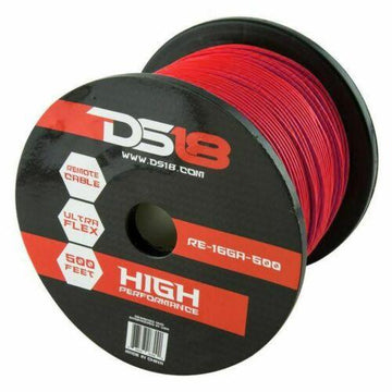 DS18 16GA Remote Power Ground Wire Cable Stranded Copper Mix 500ft Spool RED