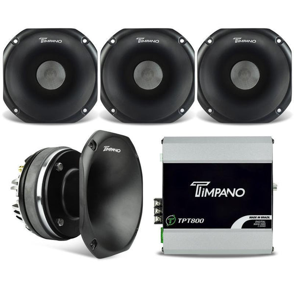 Timpano 2400W Combo 800 2 Ohm Mono Amplifier + 4 X Dh2000 Horn Driver Car Speakers & Speaker Systems
