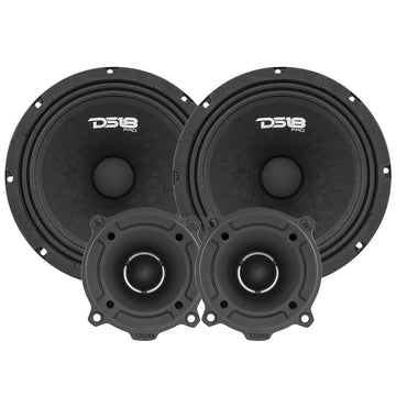 "1760W 2x GM8 8"" 4 Ohm Midrange Speakers + 2x TW120 Tweeters DS18 PRO-GM8.4PK"