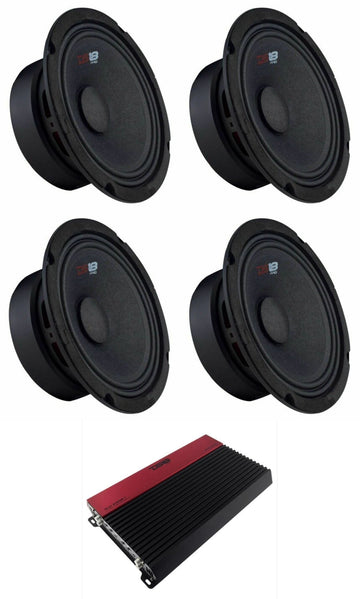4x PRO-GM8 Mid Range Speakers + SLC-X1850.4 4 Channel 1850 Amplifier