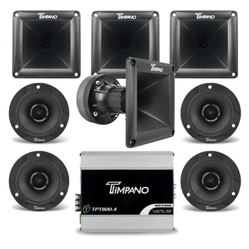 Timpano 1880W Combo 800.4 Amplifier + 2 Pairs Black Tweeters + 4x DH175 Horns