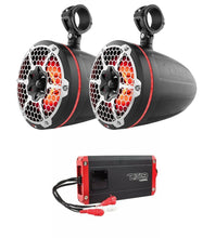 "Load image into Gallery viewer, NXL-10TPNEO Black 10"" LED Marine Tower Speakers + NXL-400.4D 1200W 4 Ch Amp"
