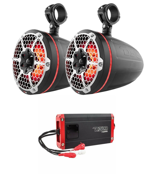 "NXL-10TPNEO Black 10"" LED Marine Tower Speakers + NXL-400.4D 1200W 4 Ch Amp"