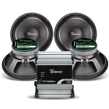 Timpano 6000W Combo 3000EQ 2 Ohm Amplifier + 4 x MD12 Pro Mid Range Speakers