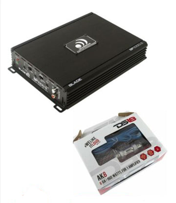 Massive Audio BP1000.2 2 Channel 1000W Full Range Amplifier w/ 8 Gauge Amp Kit