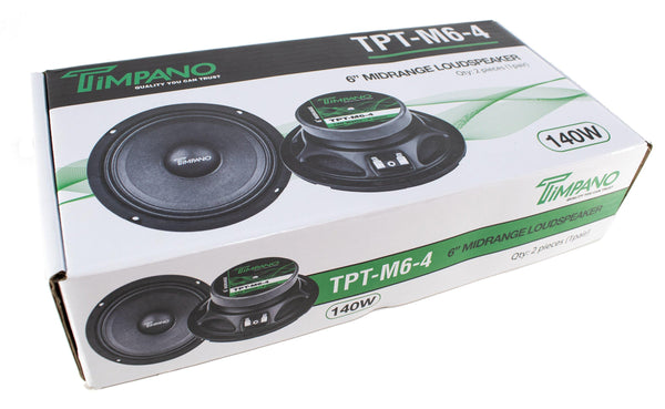 "4x Timpano 6"" Midrange Speakers 800W 4 Channel Amplifier 2x ST2 Super Tweeters"